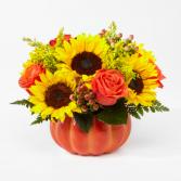 Harvest Memories Ceramic Pumpkin flower arrangement