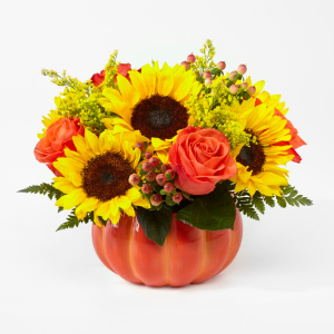 Harvest Memories Ceramic Pumpkin flower arrangement in Saskatoon, SK | QUINN & KIM'S FLOWERS