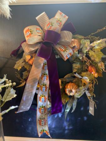 Harvest pumpkin wreath  Silk door wreath