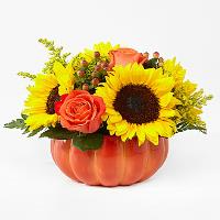 Harvest traditions ceramic pumpkin in Claremont, NH | FLORAL DESIGNS BY LINDA PERRON