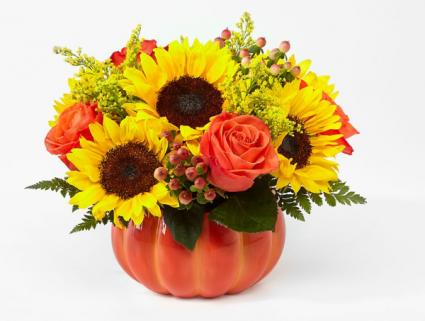 HARVEST TRADITIONS PUMPKIN AUTUUM FLOWERS IN PUMPKIN