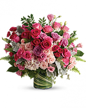 Haute Pink Roses Flower Arrangement in Tulsa, OK | THE WILD ORCHID FLORIST
