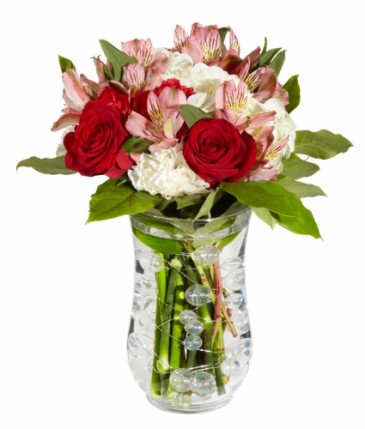 Have A Joyful Day Vase Arrangement With Wired White Pearls Inside