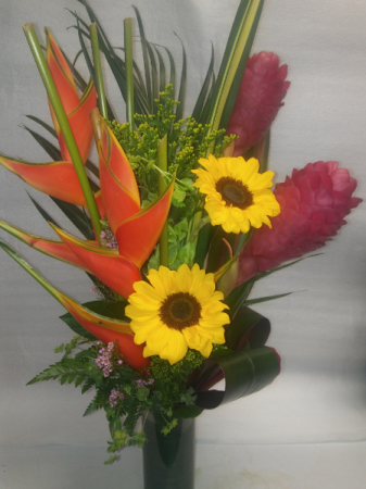 Hawaiian Sunset Tropical Arrangement Vase