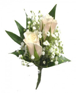 2 White Sweetheart Roses with baby's breath Most Popular!! Spray roses come in all colors