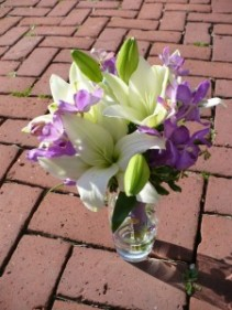 "Rachel White Lilies and Purple Orchids 13"" Tall"