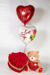 Head Over Heels For You with Bear and Balloons Processed Red Roses