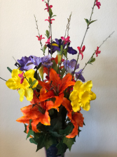 Headstone silk flowers