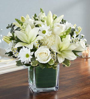 Healing Tears™ All White Sympathy Arrangement  in Neoga, IL | FLOWERS BY DEBBIE