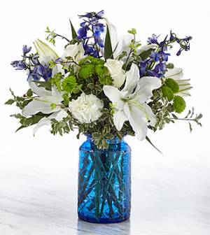 Healing Tears blue glass vase in Claremont, NH | FLORAL DESIGNS BY LINDA PERRON