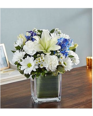 Healing Tears Blue & White  Sympathy Flowers  in Neoga, IL | FLOWERS BY DEBBIE