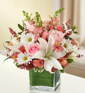 Healing Tears - Pink And White Sympathy Arrangement