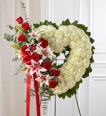 HEART 1 STAND WREATH FOR A SERVICE/MEMORIAL
