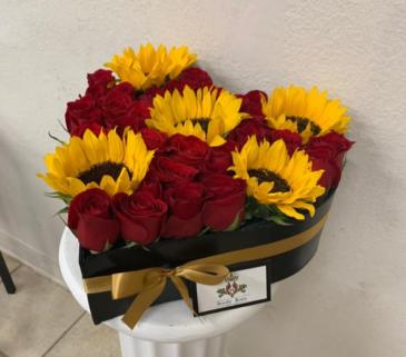 Heart #2 Roses & Sunflowers Heart Shape Box