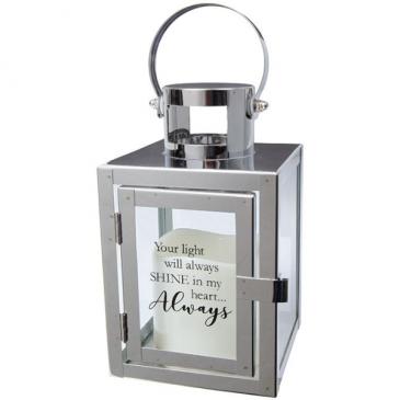 """Heart Always"" Silver Led Lantern"