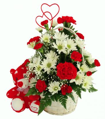 Heart Bear Arrangement Basket