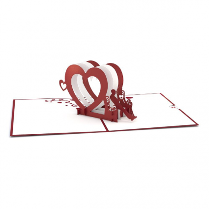 Heart Bench 3D card Love/Romance Greeting Card