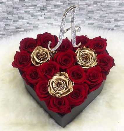 HEART BOX WITH INITIAL TOPPER ROSES THAT LAST A YE