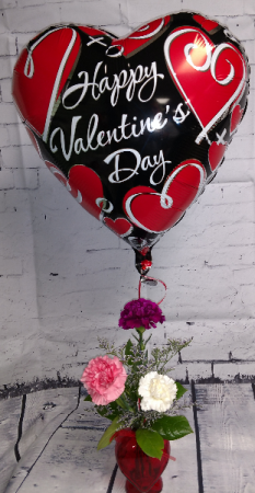 Heart Carnation with Balloon