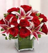 HEART FELT RED ROSES AND STAR GAZOR LILLIES SQUARE VASE