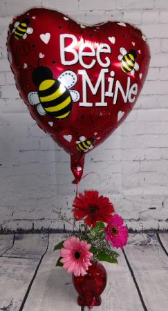 Heart Gerbera Daisy with Balloon