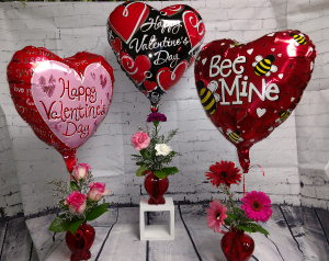 Heart Group with Balloons  in Highmore, SD | Amber Waves Floral & Gifts