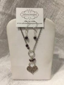 Heart Locket Necklace and Earring Set Jewelry