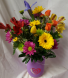 Mason Jar with Silver Heart Bouquet! Seasonal  bright flowers arranged in a heart mason jar. (mason jar may vary in color...purple, teal or pink)