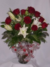 HEART OF MINE - Roses & Oriental Lilies Anniversary Roses, or Birthday Roses,or Wedding Roses