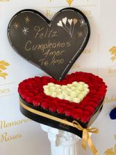 Heart of Roses Red/White Heart Shape Box