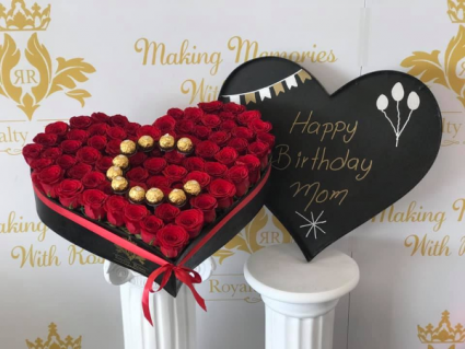 Heart of Roses with Letter Initail  Heart Shape Box