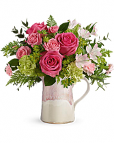Heart of Stone Bouquet Mixed Arrangement of Roses, Tea Roses and Alstroemeria