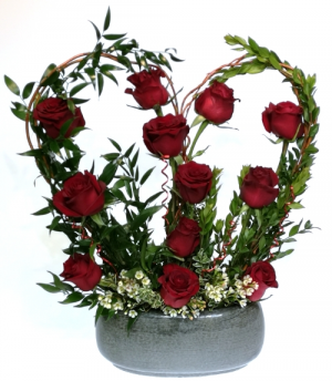 Heart on Fire Container Arrangement in Invermere, BC | INSPIRE FLORAL BOUTIQUE