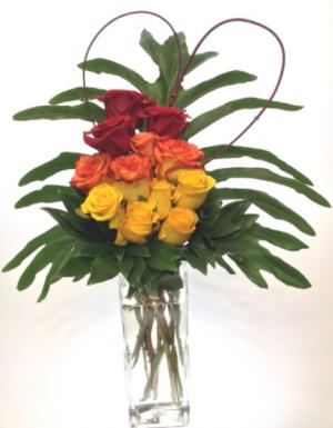 Heart on Fire Vase Arrangement in Invermere, BC | INSPIRE FLORAL BOUTIQUE