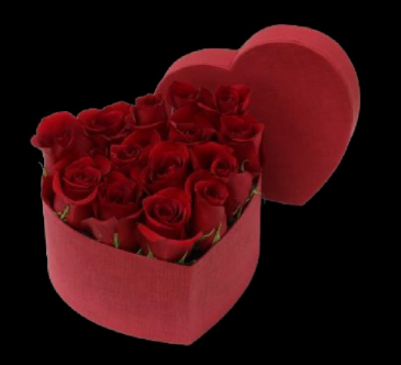 Heart Rose Box Flowers in a box