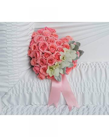 Heart Rose Insert Casket Bouquet
