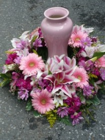 Shades of Pink Surround Add Dozen Roses $200.00