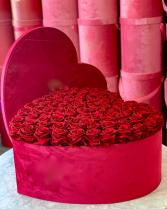 Velvet Heart Shaped Rose Box  Valentines Day