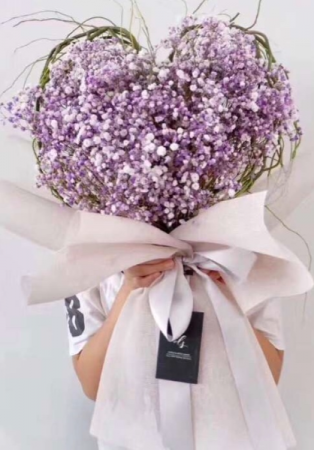 Heart shaped baby breath bouquet  White, pink, purple & blue