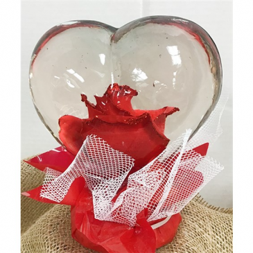 Heart-Shaped Preserved Rose Globe  18.95 (Local delivery only)