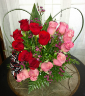 Heart-shaped Roses Fresh Arrangement