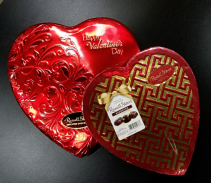 Heart Shaped tin or box of Chocolates Valentine's Day