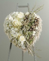 HEART STANDING SPRAY WHITE Red Rose Bouquet