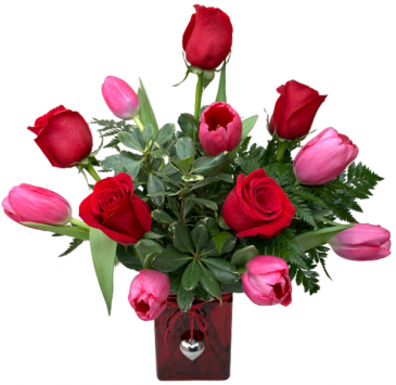 Heart Throb Tulips and Roses Valentine's Day Arrangement