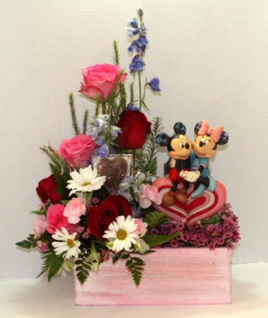 Heart to Heart 1/2 dozen roses with Chocolate Heart and Mickey and Minnie