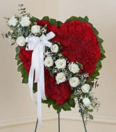 Red Heart with white roses Standing Sympathy Spray
