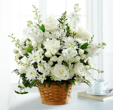 HEARTFELT CONDOLENCES ARRANGEMENT White flower arrangement