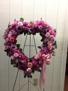 Heartfelt Pink and Lavender Funeral Heart in Fairfield, CT | Blossoms at Dailey's Flower Shop