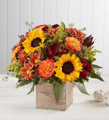 heartfelt radiance bounquet fall arrangement