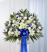 Heartfelt Sympathies Blue & White Funeral FLOWERS BLUE AND WHITE FLOWERS IN WHITE CONTAINER